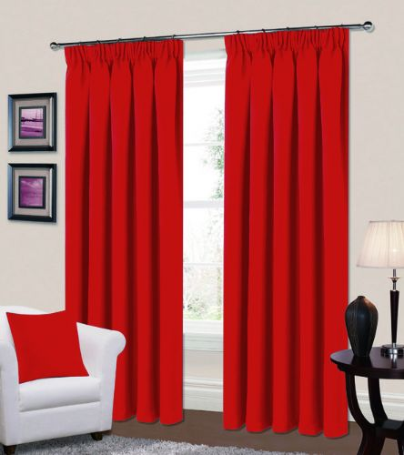 PLAIN RED COLOUR THERMAL BLACKOUT READYMADE BEDROOM LIVINGROOM CURTAINS PENCIL PLEAT